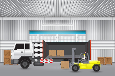 lpg: Forklift transfer cartons into truck with factory background.