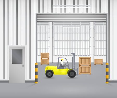 storage warehouse: Forklift working with wood crate inside factory. Illustration