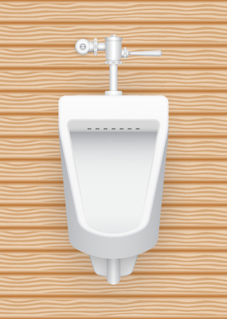 urinate: Illustration of urinal with wood pattern background.