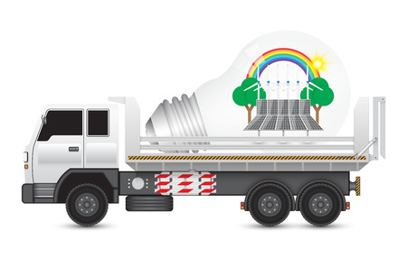 alternative energy sources: Alternative energy and bulb on heavy truck. Illustration