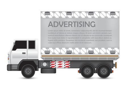steel frame: Illustration of billboard and steel frame on heavy truck.