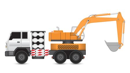 lpg: Illustration of backhoe machine on heavy truck.