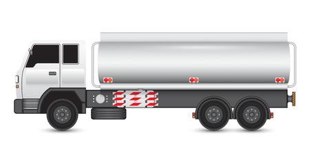 大型トラックと化学品タンクのイラスト。