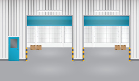 siding: Illustration of shutter door and factory, blue color. Illustration