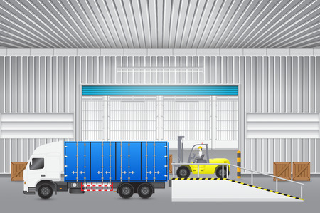 on ramp: Forklift transfer wood crate into truck with factory background. Illustration