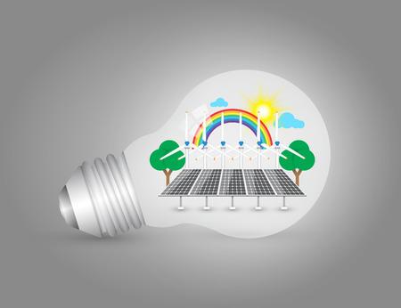 solarcell: Illustration of alternative energy in bulb. Illustration