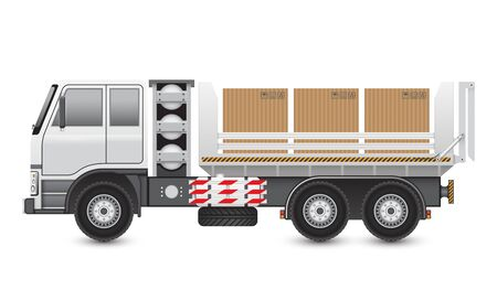 lpg: Illustration of trucks and carton isolated on white background.