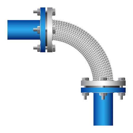 Connecteur flexible de tuyaux en acier, isolé, fond.