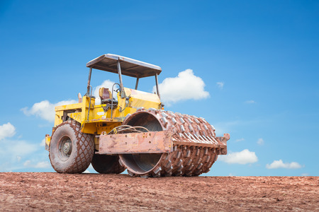 compaction: Compaction equipment with clear sky background.