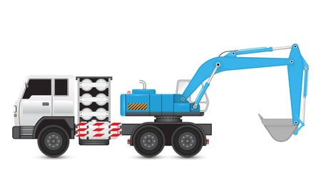 lpg: Illustration of backhoe machine on heavy truck.