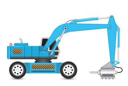 hydraulic: Illustration of backhoe and hydraulics hammer machine.