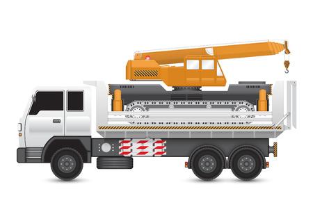erection: Illustration of mobile crane on heavy truck.