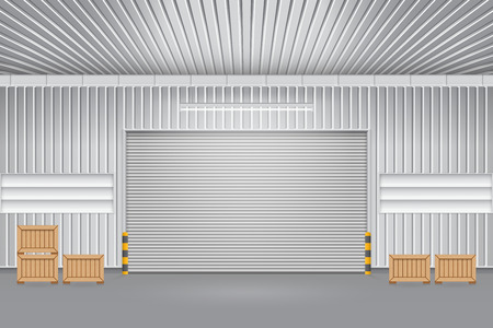 Illustration of shutter door outside factory, gray color.