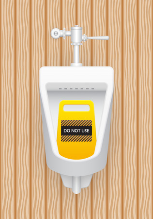 urination: Urinal and warning signs with wood pattern background.