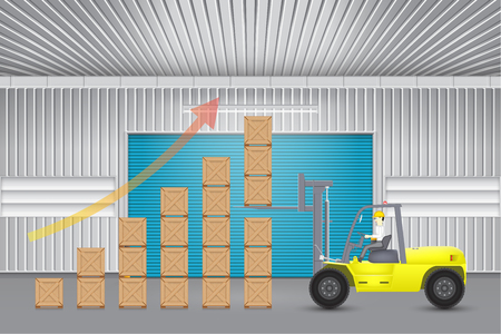 roller shutters: Illustration of forklift working with carton outside factory.