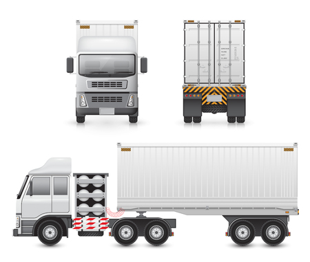 high detail: High detail of illustration of heavy truck and container isolated on white background.