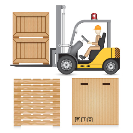Illustration of forklift and industry object isolated on white.