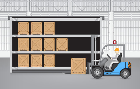 warehouse interior: Forklift working with wood crate with factory background.