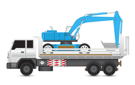 heavy: Illustration of backhoe machine on heavy truck.