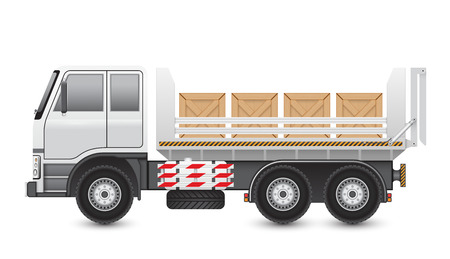 wood crate: Illustration of trucks and wood crate isolated on white background. Illustration