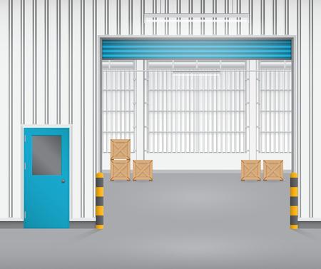 roller shutters: Illustration of shutter door and factory, blue color. Illustration