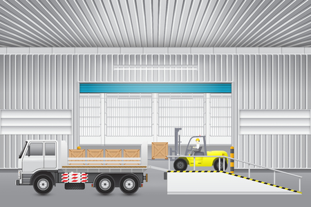 leveler: Forklift transfer wood crate into truck with factory background. Illustration