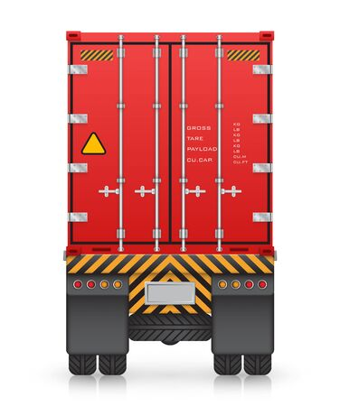 back view: Cargo container on truck, isolated on white background. Illustration