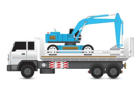 Illustration of backhoe machine on heavy truck.