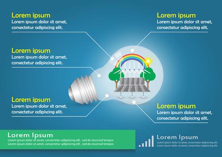 solarcell: Illustration of infographic element, alternative energy in bulb.