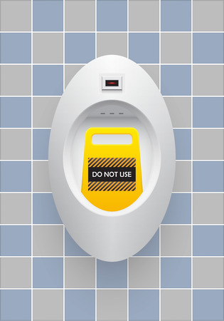 urination: Urinal and warning labels with ceramics tile background. Illustration