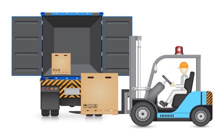 Illustration du chariot élévateur transfert carton dans le camion. Vecteurs