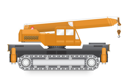 overhang: Illustration of mobile crane isolated on white background.