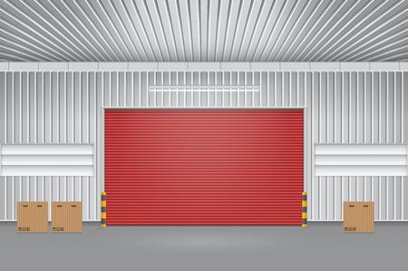 Illustration of shutter door outside factory, red color. Vector