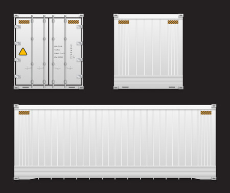 Set of cargo container isolated on black background. Çizim
