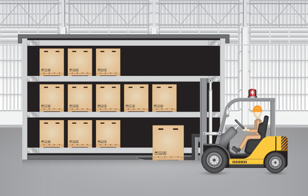 stock illustration: Forklift working with carton with factory background.