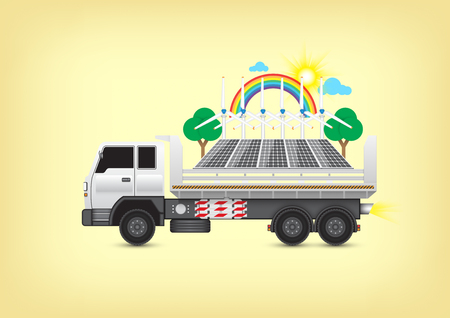 alternative energy sources: Alternative on truck with yellow background.