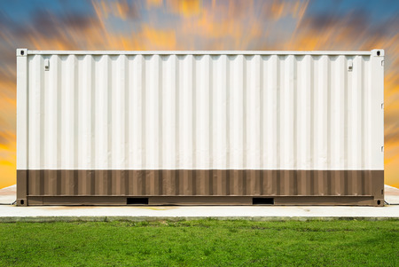 modular home: Container with sky background. Stock Photo