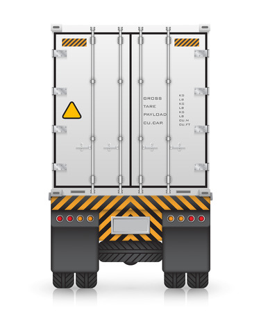 Cargo container on truck, isolated on white background. Ilustração