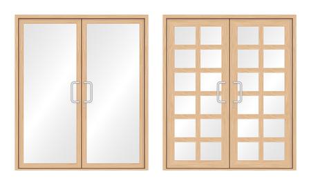 shutter door: Illustration of wood door set isolated on white background.