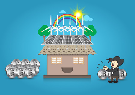 exterior element: Illustration of alternative energy and home with blue background.