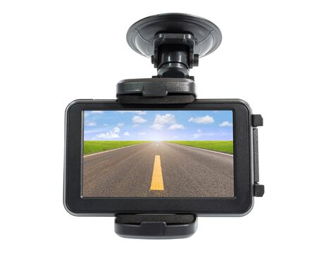clamped: Navigation devices and asphalt road in screen, clipping path include in file.