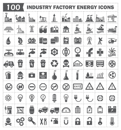 industrial industry: 100 icon of factory energy industry