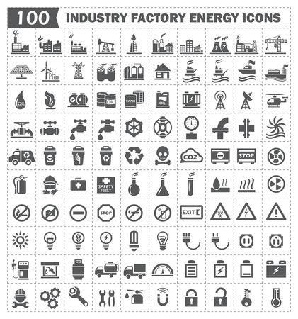 100 icono de la industria energética de la fábrica Vectores