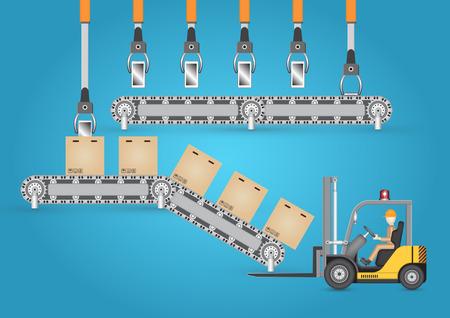 cinta transportadora: Carretilla elevadora que trabaja con el cart�n y la cinta transportadora Vectores