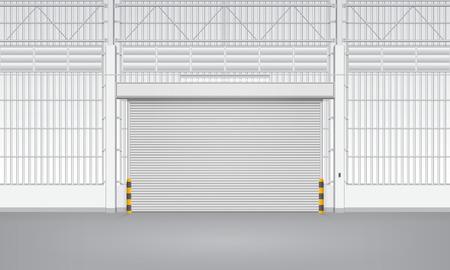 roller shutters: Illustration of shutter door inside factory, blue color.