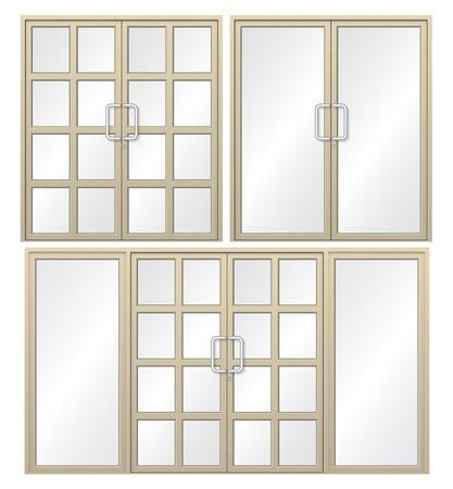 Illustratie van aluminium deur geïsoleerd op een witte achtergrond. Vector Illustratie