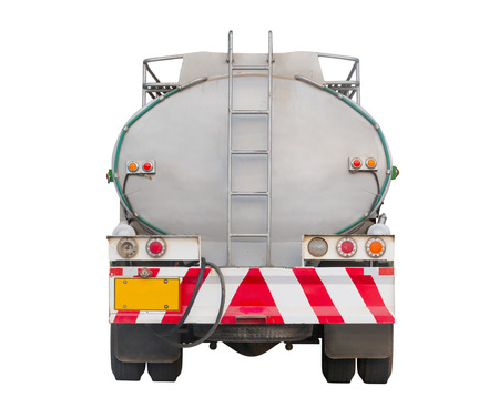 cistern: Oil tank on truck, backside view Stock Photo