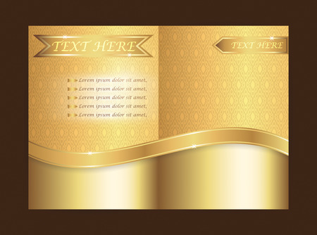 Document cover A4 size with gold ribbon and Thai pattern.