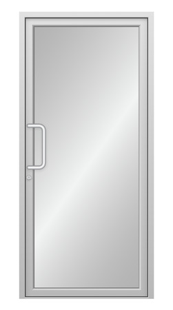 door handle: Illustration of aluminium door isolated on white background.
