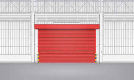 siding: Illustration of shutter door inside factory, red color.